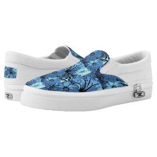 Vintage Elegant blue floral Slip shoes  Ons