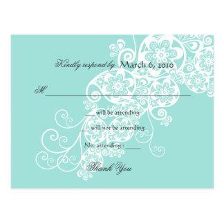 Vintage Elegant Boho Floral Paisley Wedding RSVP Postcard
