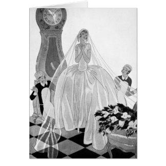 Vintage Elegant Bride Wedding Wishes Greeting Card
