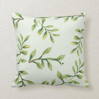 Vintage Elegant Cute Green Leaves Cushion
