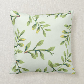 Vintage Elegant Cute Green Leaves Throw Pillow