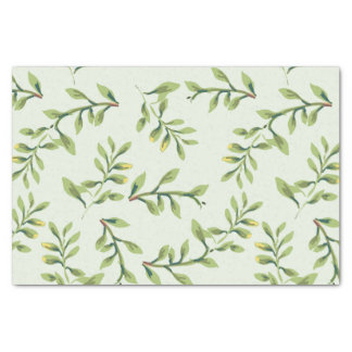 Vintage Elegant Cute Green Leaves Tissue Paper
