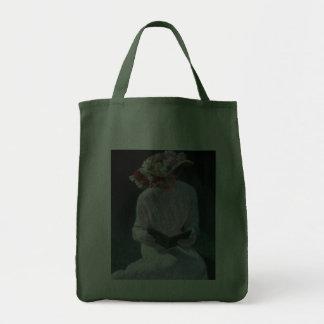Vintage Elegant Fine Art Victorian Lady Reading Tote Bag