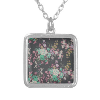 vintage elegant flowers floral theme pattern silver plated necklace