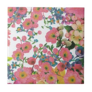 vintage elegant flowers floral theme pattern small square tile