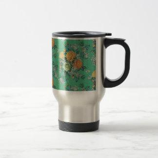 vintage elegant flowers floral theme pattern travel mug