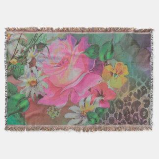 vintage elegant flowers floral throw blanket