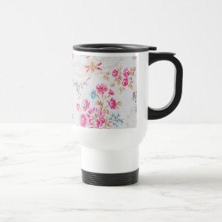 Vintage Elegant Girly Pink Blue Floral Pattern Stainless Steel Travel Mug