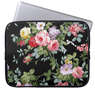 Vintage Elegant Girly Pink Red Roses Pattern Laptop Sleeve