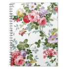 Vintage Elegant Girly Pink Red Roses Pattern Notebook