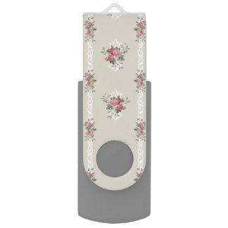 Vintage Elegant Girly Pink Roses on Grey USB Flash Drive