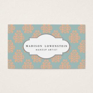 Vintage Elegant Peach Damask Pattern Teal Blue Business Card