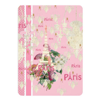 Vintage Elegant Pink Paris Eiffel Tower Chandelier Card