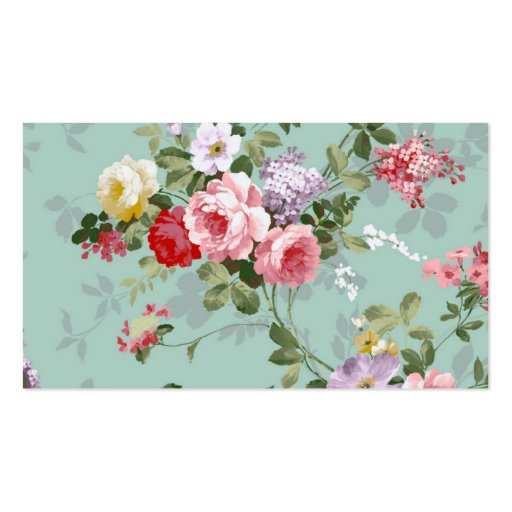 Vintage Elegant Pink Red Roses Pattern Business Card Templates