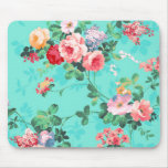 Vintage Elegant Pink Red Yellow Roses Pattern Mouse Pad