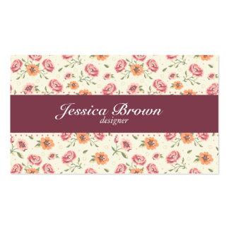Vintage Elegant Red Roses Pattern Business Card