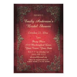 Vintage Elegant Regal Gold & Red Bridal Shower 13 Cm X 18 Cm Invitation Card