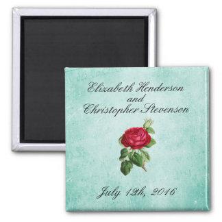 Vintage Elegant Romantic Red Rose Wedding Square Magnet