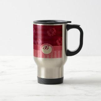 Vintage elegant roses striped  monogram stainless steel travel mug