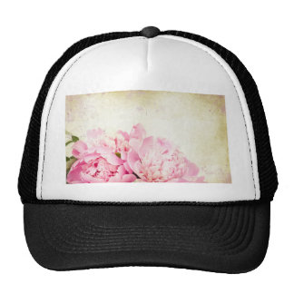 Vintage elegant rustic with pink floral bouquet trucker hat