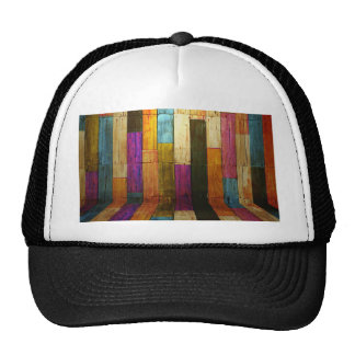 Vintage elegant rustic wood collage colorful chic trucker hat