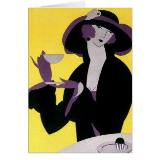 Vintage Elegant Woman Drinking Afternoon Tea Party Card