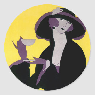 Vintage Elegant Woman Drinking Afternoon Tea Party Stickers