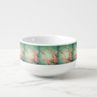 Vintage elegant worn teal wood & cherry blossom soup mug