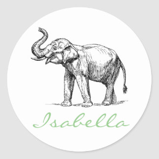 Vintage elephant add your name text elephants round sticker