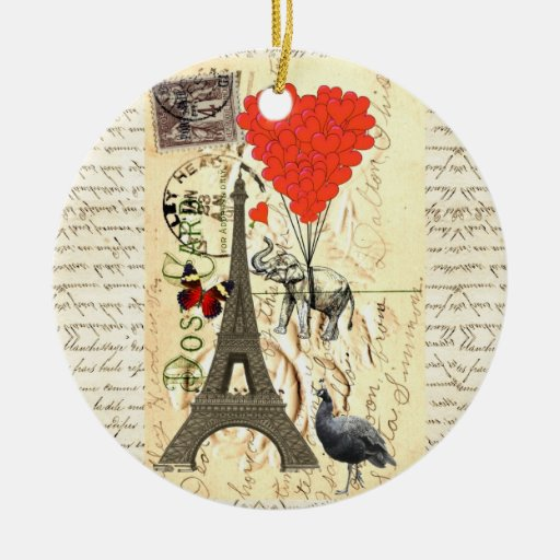 Vintage elephant and red heart balloons christmas tree ornament