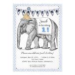 Vintage Elephant Circus Parade Invitation - Blue
