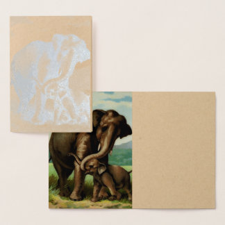 Vintage elephant cow with her calf foil card