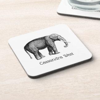 Vintage Elephant Drawing Coaster