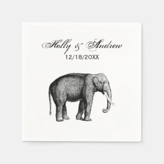 Vintage Elephant Drawing Disposable Serviette