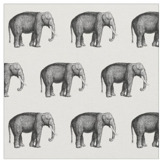 Vintage Elephant Drawing Fabric