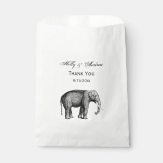 Vintage Elephant Drawing Favour Bag