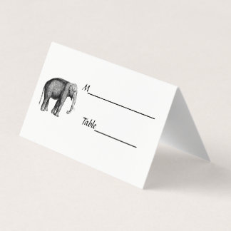 Vintage Elephant Drawing Place Card