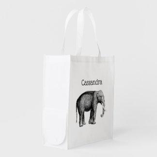 Vintage Elephant Drawing Reusable Grocery Bag