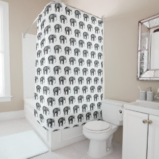 Vintage Elephant Drawing Shower Curtain
