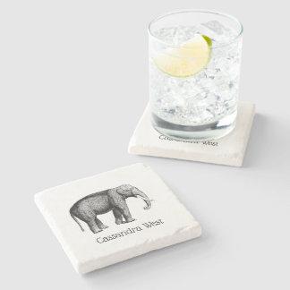 Vintage Elephant Drawing Stone Coaster