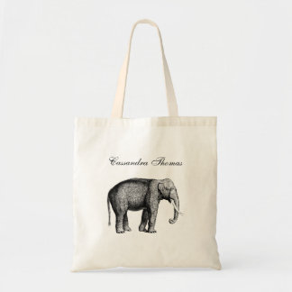 Vintage Elephant Drawing Tote Bag