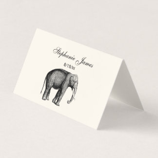 Vintage Elephant Place Card Escort Card Ivory