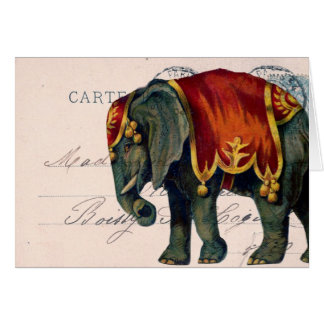 Vintage Elephant Postcard Digital Art, Birthday