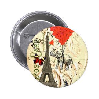 Vintage elephant & red heart balloons 6 cm round badge
