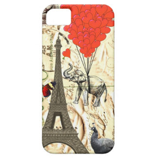 Vintage elephant & red heart balloons barely there iPhone 5 case