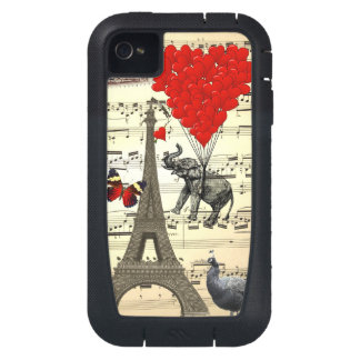Vintage elephant red heart balloons iPhone4 case