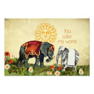 Vintage Elephants in Love Photo Art