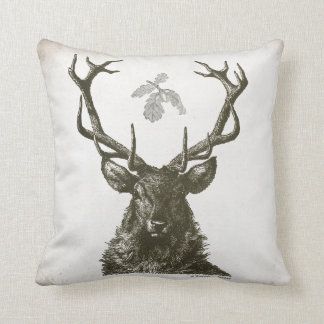 Vintage Elk head on throw pillow with oak leaves.
