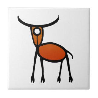 Vintage Elk Petroglyph Ceramic Tile