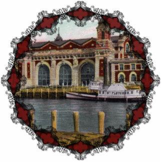 Vintage Ellis Island Ornament Photo Sculpture Decoration